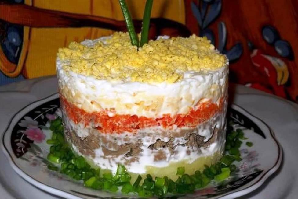 Салат печеночная слойка рецепт
